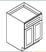 """GW-B27B * BASE – 27""""WX24""""DX34.5""""H * TWO DOOR, ONE DRAWER"""