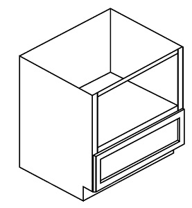"""GW-B30MW * MICROWAVE BASE – 30""""X24""""X34.5"""" * 26 7/8"""" X 18""""H OPENING WITH ONE DRAWER"""