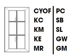 GW-W3636BMGD * MULLION GLASS DOOR FOR W3636 WALL CABINET