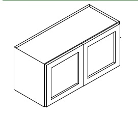 """AG-W301524B * 24"""" DEEP WALL CABINET 30""""WX24""""D'X15""""H 2 DOOR"""