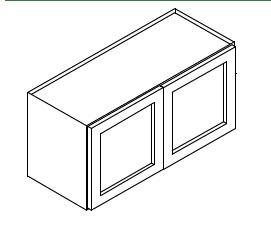 """SL-W331524B * 24"""" DEEP WALL CABINET 33""""WX24""""D'X15""""H 2 DOOR"""