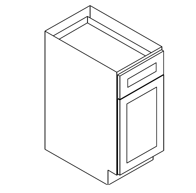 """TW-B12 * BASE – 12""""WX24""""DX34.5""""H * ONE DOOR, ONE DRAWER"""