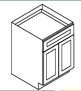 """TW-B24B * BASE – 24""""WX24""""DX34.5""""H * TWO DOOR, ONE DRAWER"""