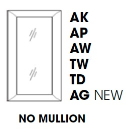 KW-WDC2442MGD * MULLION GLASS DOOR FOR WDC2442 WALL DIAGONAL CORNER CABINET