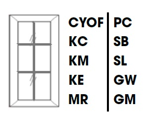 KW-WDC273615MGD * MULLION GLASS DOOR FOR WDC273615 WALL DIAGONAL CORNER CABINET