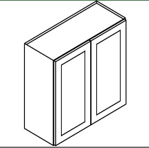 """KW-W2730B * WALL CABINET 27""""WX12""""DX30""""H - 2 DOOR"""