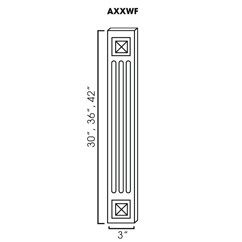 "A42WF (AW-GW-TW) * DECORATIVE WALL FILLER. FLUTED WITH BEVELED SQUARE...3""WX3/4""DX42""H"