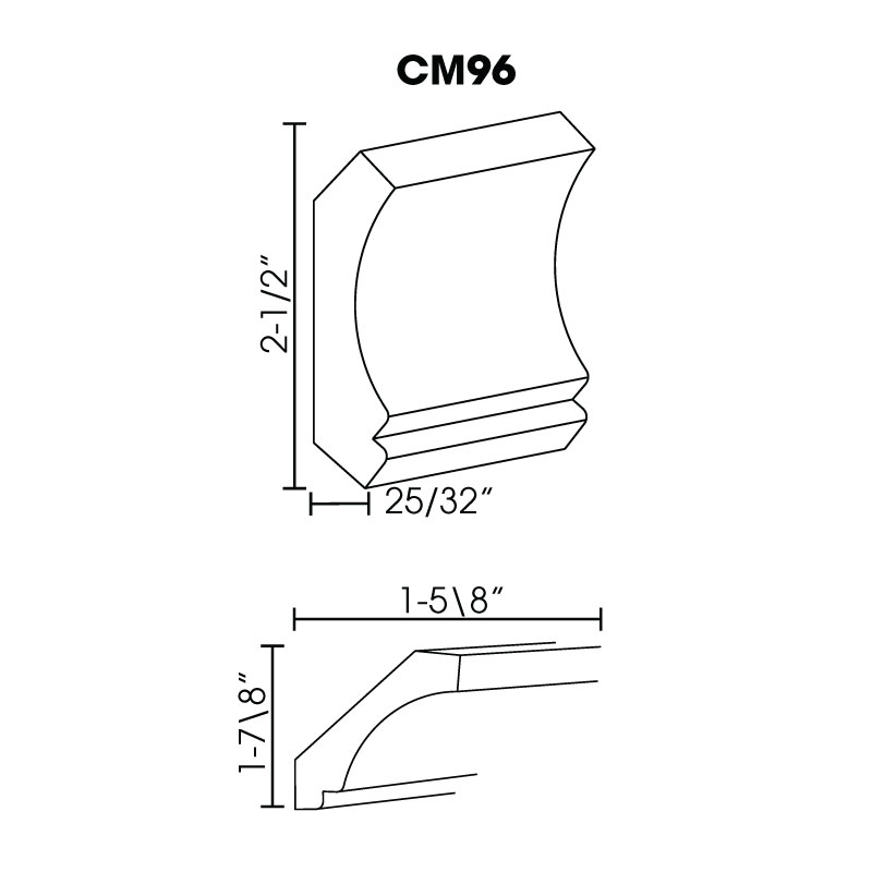 "MR-CM96 * CROWN MOULDING 2.5""WX96""H"