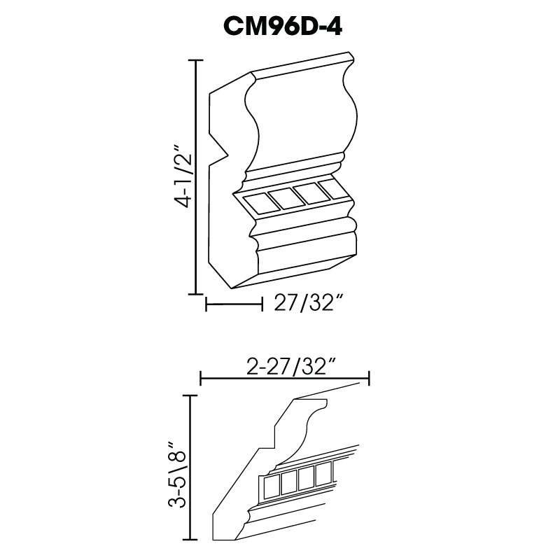 "PC-CM96D-4 * CROWN MOLDING WITH DENTIL DETAIL 4""W"