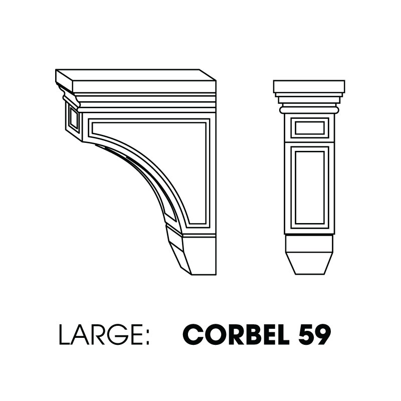"CORBEL59 (AW-GW-TW) * LARGE CORBEL, RAISED CENTER 3""WX6""DX9""H"