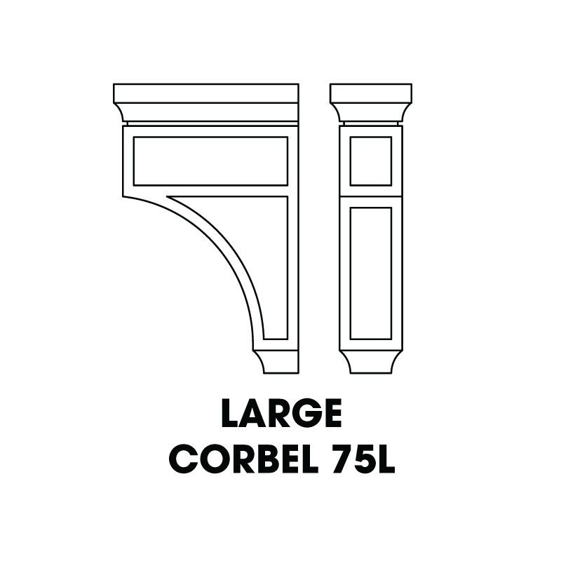 "CORBEL75L (AW-GW-TW) * LARGE CORBEL RECESSED CENTER 3.5""WX8""DX12.5""H"