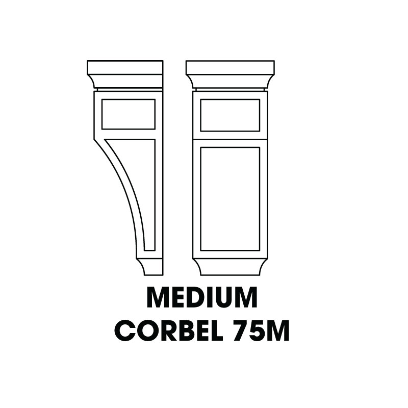 "CORBEL75M (AW-GW-TW) * MEDIUM CORBEL RECESSED CENTER 5.25""WX4.5DX12.5""H"
