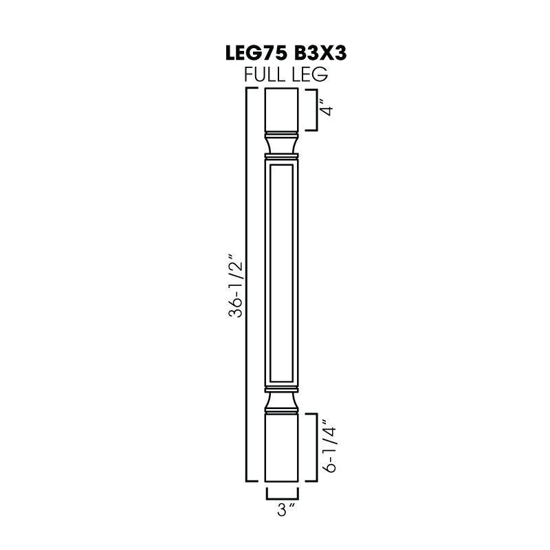 "KW-LEG75 B3X3 * FULL LEG 3""WX3""DX36-1/2""H (TRIMMABLE)"