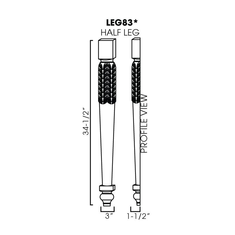 """KW-LEG83 * HALF LEG 3""""WX1-1/2""""DX34-1/2""""H"""