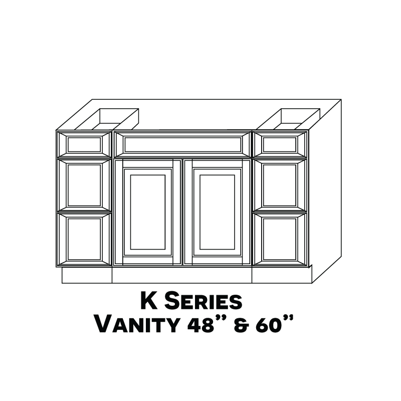 "KE-S6021B12D-34-1/2"" * Vanity Sink Base 60""Wx21""Dx34.5""H 4 Drawers 2 Door * ONLY AVAILABLE FROM GA WAREHOUSE"