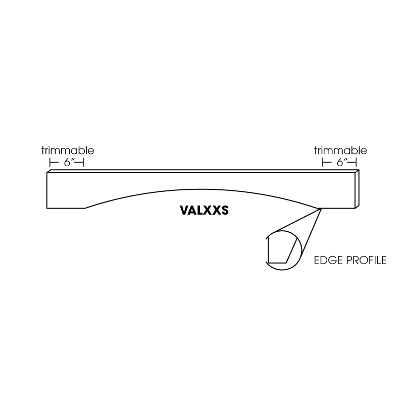 "KW-VAL48S * SHAKER 48"" ARCHED VALANCE. SQUARE EDGE. TRIMMABLE 6"" BOTH ENDS"