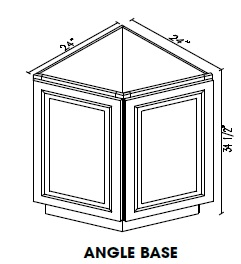 "KC-AB24 * ANGLE BASE CABINET 24""WX24""DX34.5""H"