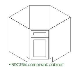 "KC-BDCF36 * DIAGONAL BASE 36""WX24""DX34.5""H ONE DOOR, NO DRAWER"