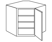 "KE-WDC2436 * WALL DIAGONAL CORNER CABINET 24""WX12""DX36""H"