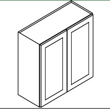 TG-W3342B * WALL CABINET 33″WX12″DX42″H – 2 DOOR